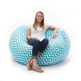 FufSack Memory Foam Zig Zag Blue 7-foot XXL Bean Bag Lounge Chair