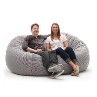 FufSack Memory Foam Houndstooth Black 7-foot XXL Bean Bag Lounge Chair
