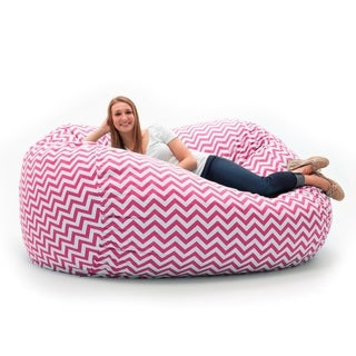 FufSack Memory Foam Chevron Pink 7-foot XXL Bean Bag Lounge Chair