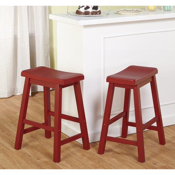 Simple Living Belfast 24 Inch Red Saddle Stool Set Of 2