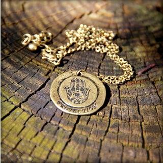 Goldtone Metal 'Hamsa' Emulate Spiritual Necklace