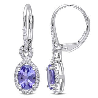 Miadora 10k White Gold Tanzanite and 1/4ct TDW Diamond Earrings (G-H, I1-I2)