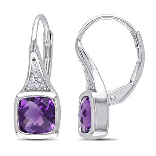 Miadora Sterling Silver 1 3/4ct TGW Amethyst and Diamond Accent Earrings