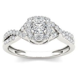 De Couer 10k White Gold 1/2ct TDW Diamond Cushion Halo Engagement Ring (H-I, I2)