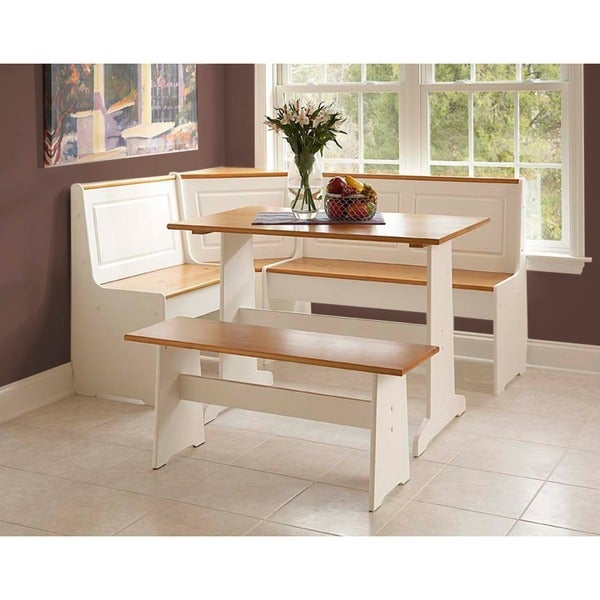 Kitchen Nook Table Sets: Linon Ardmore 5-piece White Corner Nook Wood Dining Table