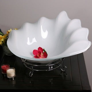 Tall White Glass Decorative Fruit Bowl with Stand