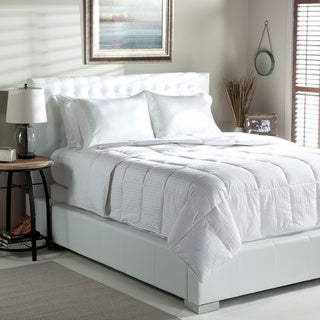 Tommy Bahama Bamboo Stripe Oversized Lightweight White Goose Down Comforter