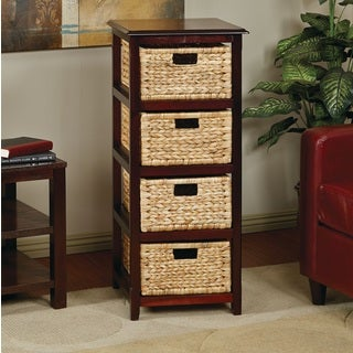 Seabrook Basket Storage Espresso Tower with Four Braided Removable Straw-grass Bins
