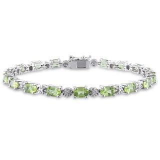 Miadora Sterling Silver 8 4/5ct TGW Peridot and Diamond Accent Bracelet