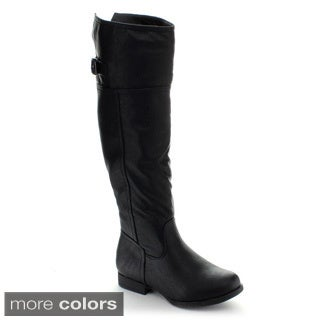 Top Moda Land-57 Women's Buckle Riding Boots