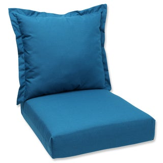 Pillow Perfect Deep Seating Cushion and Back Pillow with Peacock Sunbrella Fabric