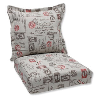 Pillow Perfect Deep Seating Cushion and Back Pillow with Carte Postale Bella-Dura Fabric