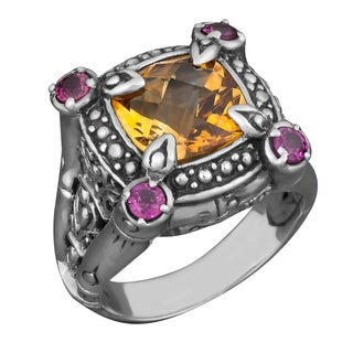 Sterling Silver Citrine and Rhodolite 'Tropical Forest' Cocktail Ring (Indonesia)