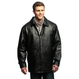 Men's Genuine Leather Zip-front Half Coat with Zip-out Liner