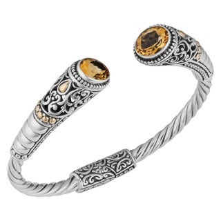 18k Yellow Gold Sterling Silver Citrine 'Balinese Gust' Cuff Bracelet (Indonesia)
