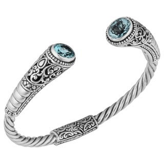Blue Topaz Sterling Silver 'Balinese Gust' Cuff Bracelet (Indonesia)