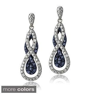 DB Designs Silvertone 1/4ct TDW Black or Blue Diamond Intertwining Infinity Dangle Earrings