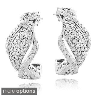 DB Designs Silvertone or Goldtone 1/4ct TDW Diamond Twist Earrings (I-J, I2-I3)