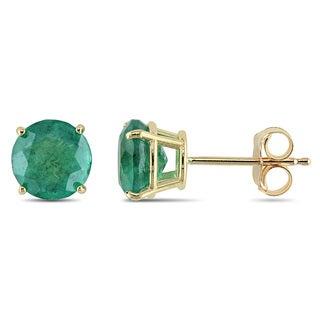 Miadora 10k Yellow Gold 1 5/8ct TGW Emerald Solitaire Earrings