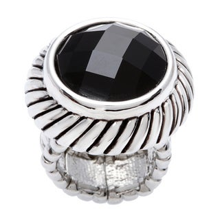Silvertone Black Faceted Stretch Ring
