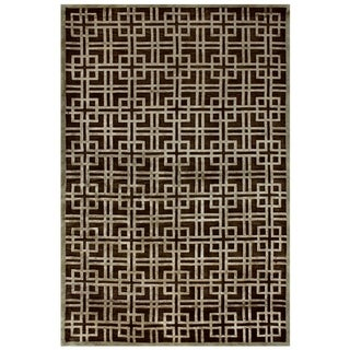 """Feizy Hand-knotted Wool & Viscose Tao Rug in Pewter 5'-6"""" x 8'-6"""""""