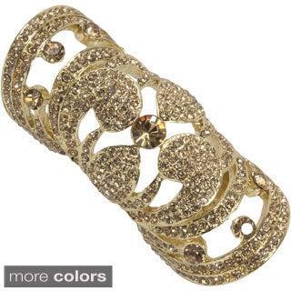 NEXTE Jewelry Goldtone or Black Rhinestone Full Finger Ring