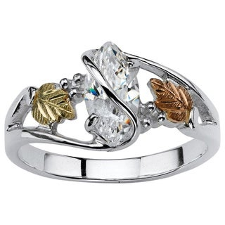 PalmBeach Gold over Silver Marquise-cut Cubic Zirconia Vine Ring Classic CZ