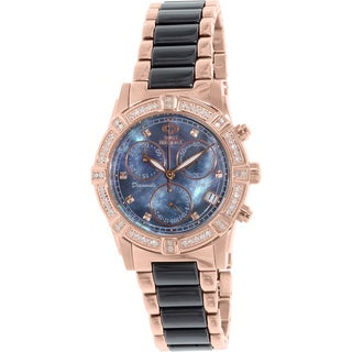 Swiss Precimax Women's Desire Elite Ceramic Diamond SP13303 Black Ceramic Mother-Of-Pearl Dial Swiss Quartz Watch