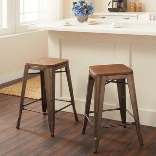 Tabouret Vintage Wood Seat Counter Stools (Set of 2)