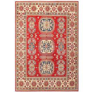 Hand-knotted Afghan Kazak Red/ Ivory Wool Rug (9'1 x 12'11)