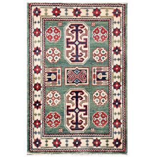 Herat Oriental Afghan Hand-knotted Kazak Teal/ Ivory Wool Rug (2' x 3')