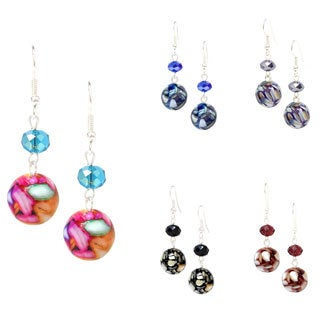 Mulit-color Mosaic Marble and Crystal Dangle Earrings