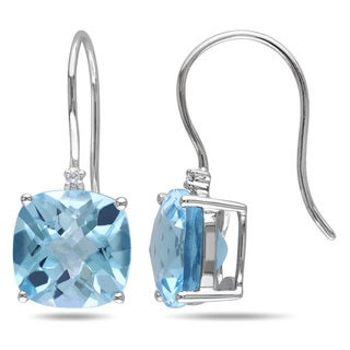 Miadora 10k White Gold Blue Topaz and Diamond Accent Dangle Earrings