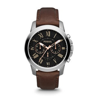 Fossil Men's FS4813 Grant Brown Leather Band Watch