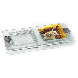 Fifth Avenue Crystal Owls 14.4 x 7 2-section Server