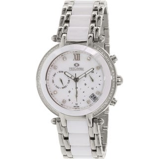 Precimax Women's PX13342 Glimmer Elite Ceramic Two-tone Mother of Pearl Dial Watch