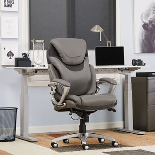Serta AIR Health and Wellness Eco-friendly Light Grey Bonded Leather Executive Office Chair