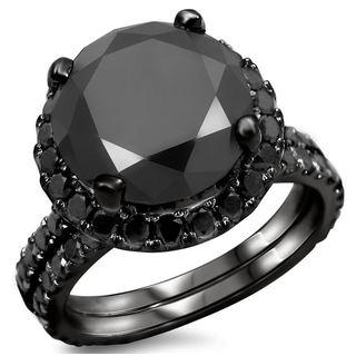 Noori 14k Black Gold 4ct TDW Certified Black Diamond Engagement Ring Bridal Set (VVS1-VVS2)