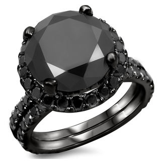14k Black Gold 5 1/4ct TDW Certified Black Diamond Engagement Ring Bridal Set (VVS1-VVS2)
