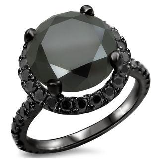 Noori 14k Black Gold 4 4/5ct TDW Certified Black Diamond Engagement Ring (VVS1-VVS2)