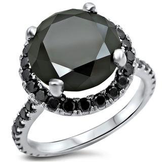 Noori 14k White Gold 3 1/2ct TDW Black Diamond Engagement Ring (VVS1-VVS2)