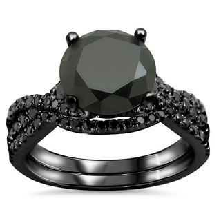 Noori 18k Black Gold 2 3/5ct TDW Certified Black Diamond Engagement Ring Bridal Set (VS1-VS2)