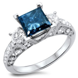 18k White Gold 1 3/5ct TDW Certified Blue and White Diamond 3-stone Ring (F-G, SI1-SI2)