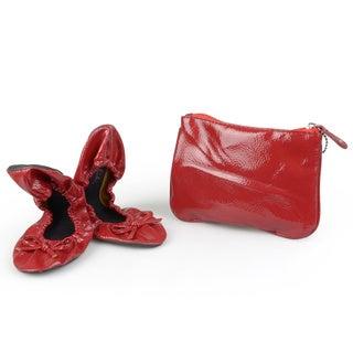 Sidekicks Women's Foldable Patent Ballet Flats