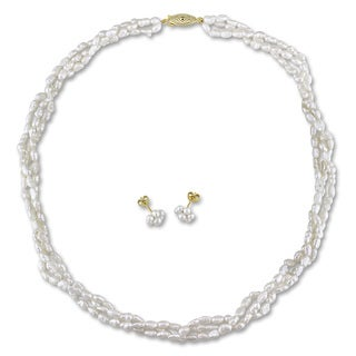 M by Miadora Gold Tone 2-pc Set oft White Cultured Freshwater Pearl Necklace and Earrings (2.5-4 mm)