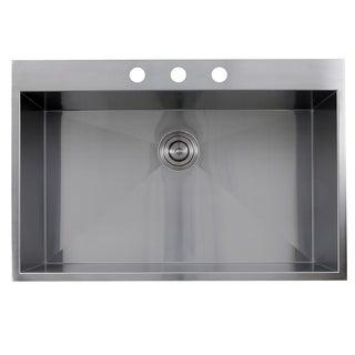 Zero Radius 33-inch 16-gauge Topmount Stainless Steel Kitchen Sink with Drain