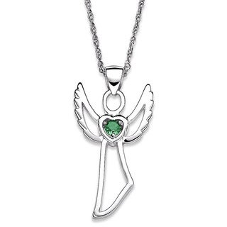 Sterling Silver Genuine Birthstone Angel Necklace