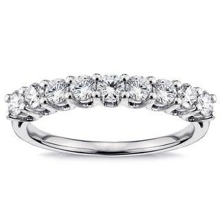 14k/18k Gold or Platinum 3/4ct V-prong Diamond Wedding Band (F-G, SI1-SI2)