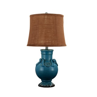 Somette Ceramic Turquoise Lamp with Cocoa Brown Burlap Shade