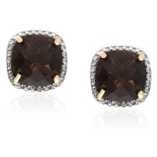 Dolce Giavonna Gold over Sterling Silver Smokey Quartz and Diamond Accent Stud Earrings